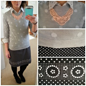 Polka dot sweater, blouse, and skirt. Fun teacher outfit! Links to available pieces on blog.