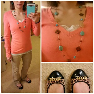 coral shirt with turquoise jewelry