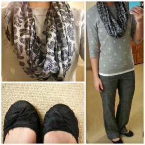 grey polka dot sweater, leopard infinity scarf