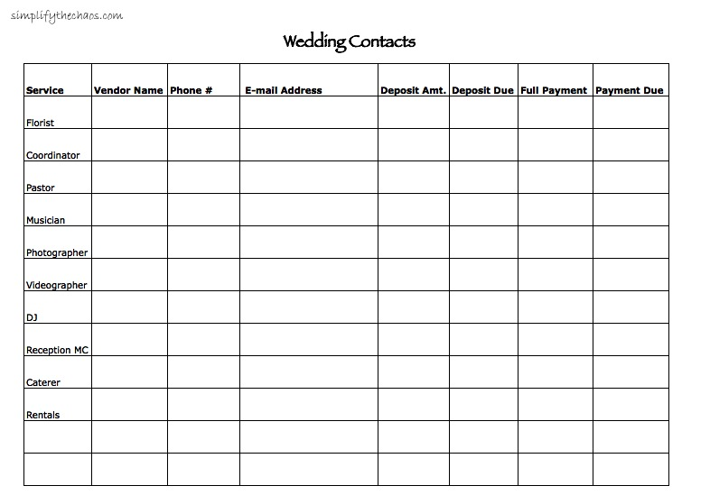Wedding Contact List | Simplify The Chaos