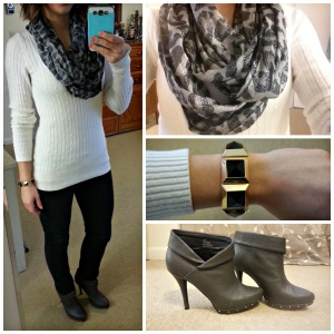 white sweater, black skinny jeans, ankle boots, infinity scarf, studded bracelet