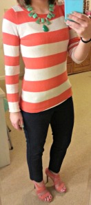 Orange stripes, green statement necklace, navy ankle pants, orange strappy heels