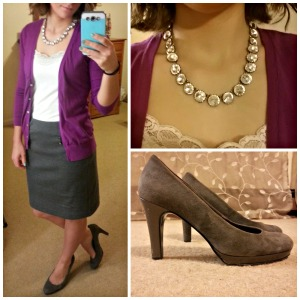 cardigan, pencil skirt, pumps, sparkly statement necklace