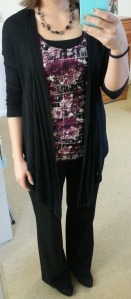 black cardigan, purple tank, black pinstripe pants