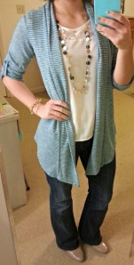 striped cardigan, long necklace, jeans, nude pumps