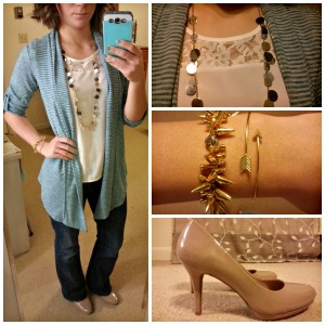 lace shirt, striped cardigan, gold jewelry, nude pumps