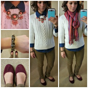 sweater, denim layers, statement necklace, corduroy skinnies, flats