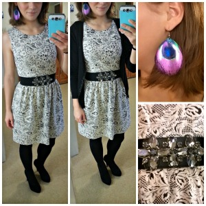 black and white dress, cardigan, fun peacock earrings