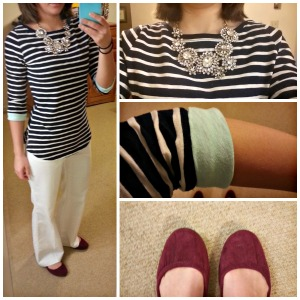 navy and white stripes, white pants, statement necklace