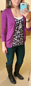 purple cardigan, floral shirt, skinnies, black boots