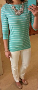 blue striped shirt, white jeans, nude pumps, statement necklace
