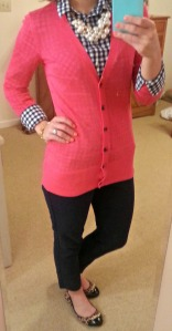 pink cardigan, checked shirt, skinnies, leopard flats, chunky pearls