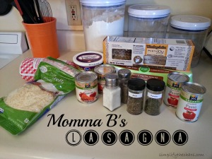 Momma B's Lasagna Ingredients