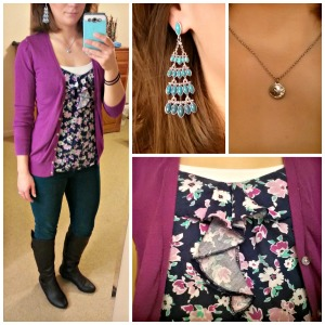 purple cardigan, floral skirt, colored skinnies
