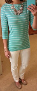 striped tee, white pants, nude pumps