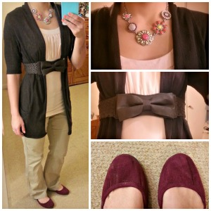 brown cardigan, pink accents, flower necklace