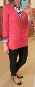 pink cardigan, blue checkered shirt, leopard flats