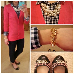 pink cardigan, blue checkered shirt, leopard flats, gold jewelry