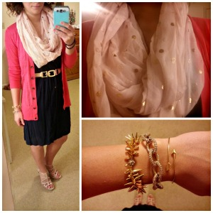 pink cardigan, navy dress, gold polka dot scarf