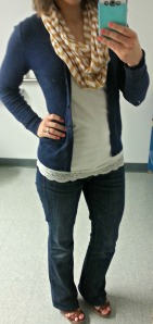 navy cardigan, yellow chevron scarf