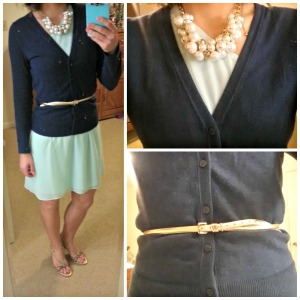 navy cardigan, mint dress, gold belt, pearls