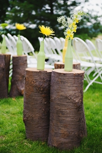 wine bottles and stumps // simple wedding decor