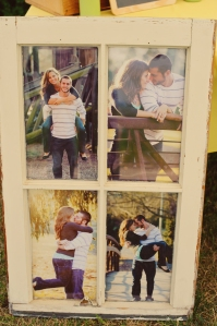 Engagement pictures in rustic window frame. Wedding DIY.