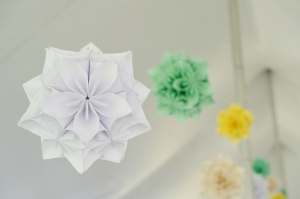 DIY flower poms :: wedding ceremony decoration