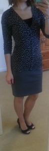 leopard cardigan, gray pencil skirt, black peep-toed pumps