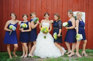 navy, green, and yellow wedding party