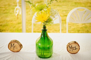 yellow and green bride and groom table