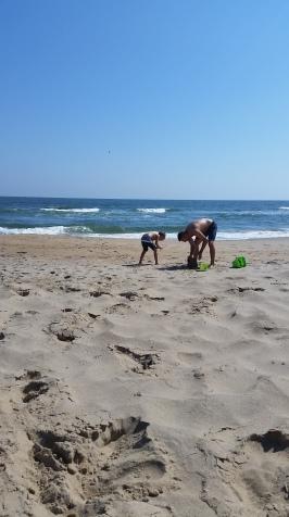 LJ + nephew in sand