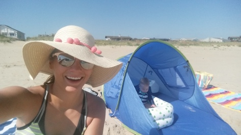 Mommy and LJ on beach